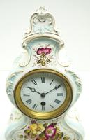 Antique 8 Day Porcelain Mantel Clock Sevres Egg Shell Blue Floral French Mantle Clock (7 of 12)
