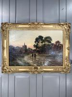 Antique Victorian Landscape Oil Painting In Gilt Gesso Frame Entitled Sunday Evening by R Halfnight (8 of 10)