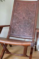 Peruvian Tooled Saddle Leather Folding Armchair (4 of 13)