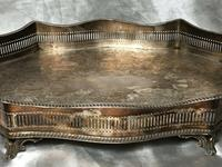 Antique Victorian Serpentine English Silver Plate Acanthus Salver Tray (2 of 13)