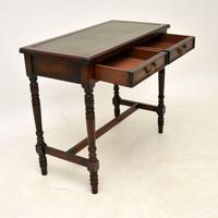 Antique Leather Top Oak Writing Table / Desk (9 of 10)
