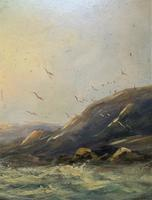 19thc (British School) Fishing Boats In Rough Seas Oil On Board Painting (8 of 13)
