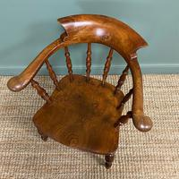 Elm Early Victorian Antique Smokers Bow Arm Chair (2 of 7)