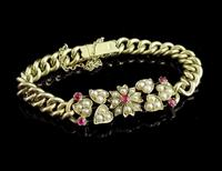 Antique 15ct Gold Ruby and Pearl Curb Bracelet, Floral (3 of 10)