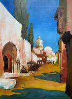 Augusta Coles Moroccan Cityscape Oil Painting Mahogany Fire Screen c.1911 (2 of 16)