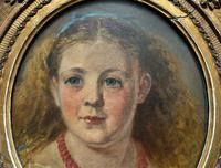 Fine Original 19th Century Circular Oil Portrait Painting of a Child for Reframing/tlc (5 of 11)