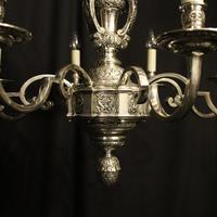 French Silver Gilded Cherub 8 Light Antique Chandelier (4 of 10)