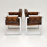 Pair of Vintage Leather & Chrome Armchairs (14 of 15)