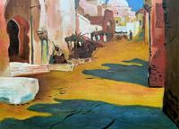 Augusta Coles Moroccan Cityscape Oil Painting Mahogany Fire Screen c.1911 (6 of 16)