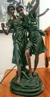 Heavy, Large Bronze Art Nouveau Coloured Lamp - Signed by Artist (6 of 8)