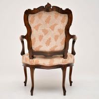 Antique French Carved Walnut Salon Armchair (4 of 10)