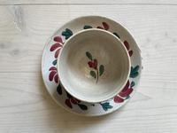 19th Century Floral Decorated Spongeware Pottery Bowl & Dished Saucer (23 of 24)