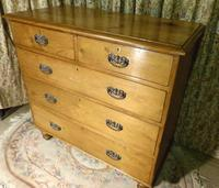 Lovely 2 Over 3 Victorian Stripped Pine Chest of Drawers with Fancy Pierced Metal Handles (7 of 9)