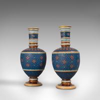 Pair of Antique Decorative Vases, German, Ceramic, Villeroy & Boch, Victorian (3 of 12)