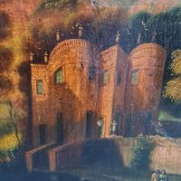 Early Naive Antique Oil Painting of Castle c.1800 (3 of 5)