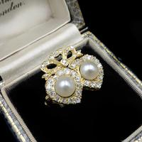 Antique Pearl and Diamond Twin Double Heart Bow 18ct Yellow Gold Ring (2 of 9)