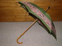 Vintage 12ct Rolled Gold Ladies Umbrella W/ Green Paisley Pattern Cotton Canopy (3 of 13)