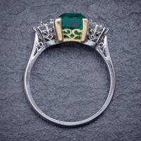 Art Deco Colombian Emerald Diamond Trilogy Ring Platinum 18ct Gold 2.55ct Emerald With Cert (8 of 9)