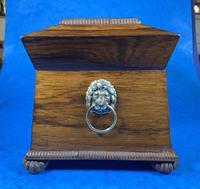 Regency Rosewood Brass Foliate Inlaid Tea Caddy (5 of 15)