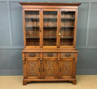 Victorian Carved Oak 3 Door Bookcase (9 of 23)
