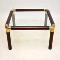 1970's Vintage Mahogany & Brass Coffee Table (3 of 7)