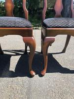Pair of Antique Queen Anne Style Walnut Side Chairs c.1910 (3 of 7)