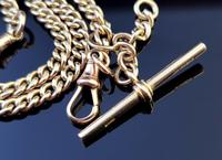 Antique 9ct Yellow Gold Double Albert Chain, Watch Chain, Curb Link (4 of 13)