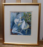 Watercolour Nude with Cat Listed Artist James Gorman (3 of 14)