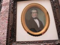 Miniature Portrait Victorian Gentleman 1880 Hand Painted (3 of 4)