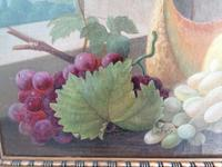19th Century Still Life with Grapes, Pumpkin, Tomatoes Oil on Canvas (3 of 12)