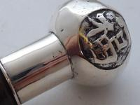 Chinese Walking Stick Cane Solid Silver Pommel Bamboo Wood Shaft c.1900 (7 of 11)