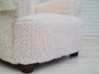 1950s Danish Design, Reupholstered Relax Armchair, Imitation Lambskin (3 of 16)