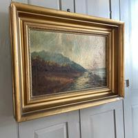 Antique Scottish Landscape Oil Painting with Sheep on Track by Loch Signed B Clark 1918 (8 of 10)