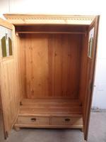 Original Arts & Crafts Antique Pine 2 Door Knockdown Wardrobe to wax / paint (2 of 11)