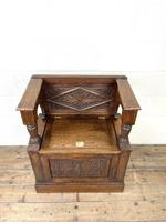 Early 20th Century Antique Carved Oak Hall Seat (2 of 13)