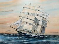 Awesome Tea Clipper Ship 'Hornet' Rough Seas Seascape Watercolour Painting c.1909 (3 of 12)