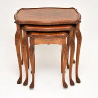 Queen Anne Style Burr Walnut Nest of Tables (3 of 8)