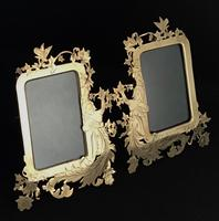 Pair of Art Nouveau Brass Figure Decorated Easel Photo Frames