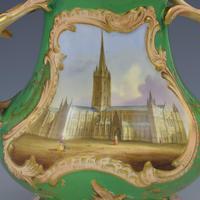 Samuel Alcock Porcelain Pot Pourri Vase & Cover View Salisbury Cathedral (5 of 12)