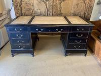 19th Century Ebonised Desk with Brass Swan Neck Handles