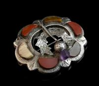 Antique Scottish silver and agate brooch, Amethyst thistle (5 of 10)