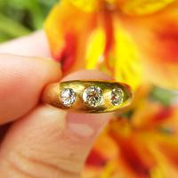 Victorian 18ct Gold Three Diamond Gypsy Ring, Antique Trilogy Ring (5 of 7)