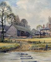 Caught One by R.Coleman 1971 A Trout Fishing Riverscape Watercolour Painting (7 of 13)