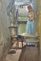 Stunning 20th Century Watercolour & Pastel Portrait Painting in Art Deco Manner (7 of 11)