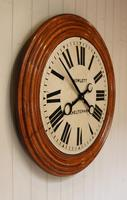 Rare 33 Inch Industrial Oak Wall Clock (9 of 10)