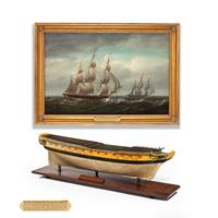 Carved & painted model of HMS Emerald, 1811 and 'HMS Emerald & HMS Amethyst' by Pocock