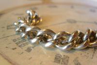 Antique Silver Pocket Watch Chain 1890s Victorian Graduated Curb Link Albert & T Bar (6 of 11)