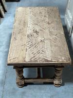 Rustic French Bleached Oak Coffee Table with 2 Drawers (9 of 19)