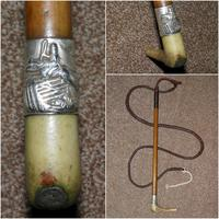 Antique GRIFFITH LONDON Gents Hunting Scene Hunt Whip W/Beaufort Leather Thong
