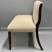 Regency scroll back window seat in buttoned ticking stripe (3 of 5)